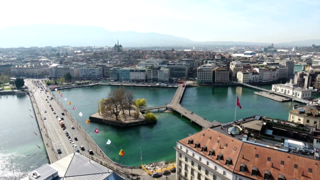 aerial view of geneva's old town, ile rousseau and rhone river - rhone river stock videos & royalty-free footage