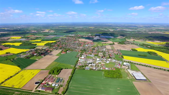 aerial view of germany patchwork landscape , lower saxony - patchwork landscape stock videos and b-roll footage