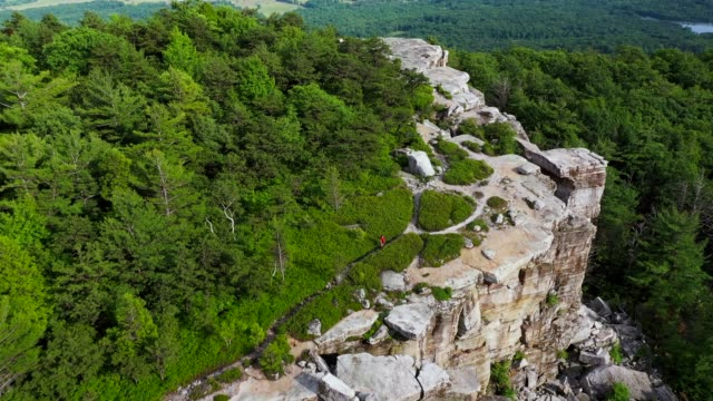 aerial view of gertrude's nose in minnewaska - appalachian mountains stock videos & royalty-free footage