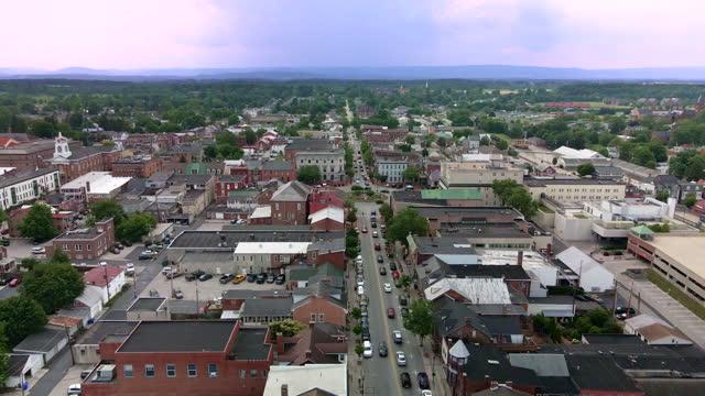 aerial view of gettysburg, pennsylvania main street - street name sign stock videos & royalty-free footage
