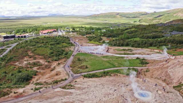 Aerial view of Geysir hot springs area, Iceland