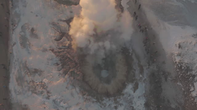 aerial view of geysir, iceland in winter - geyser stock videos and b-roll footage