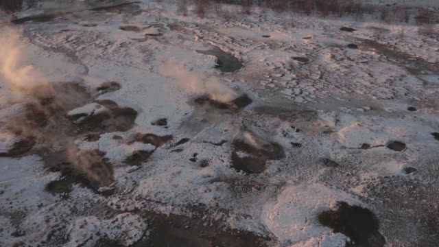 Aerial View of Geysir, Iceland in Winter
