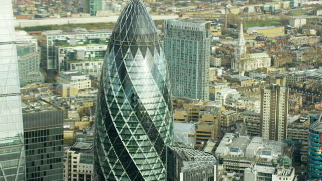 aerial view of gherkin skyscraper building london england - british culture stock videos & royalty-free footage