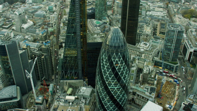 aerial view of gherkin skyscraper building london england - aerial view stock videos & royalty-free footage