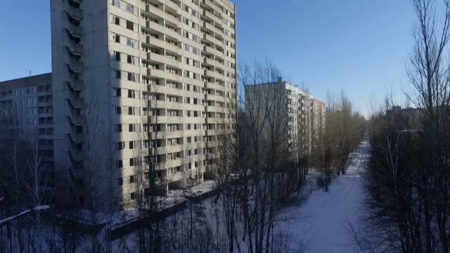 aerial view of ghost town of pripyat which was settled by the chernobyl station workers and evacuated in 1986 after the accident - nuclear fallout stock videos & royalty-free footage