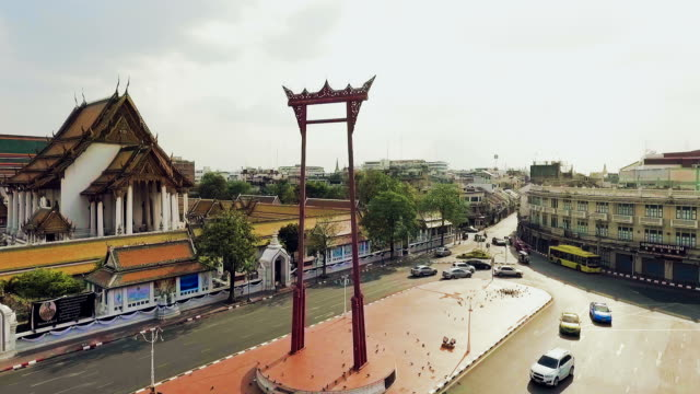 Aerial View of Giant Swing (Sao Chingcha) and traffic jam