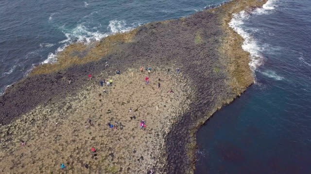 aerial view of giant's causeway/ northern ireland - basalt stock videos & royalty-free footage