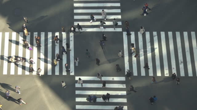 Aerial view of Ginza crossing - slow motion