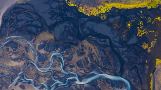 Aerial view of glacier melting in Tungnaá river