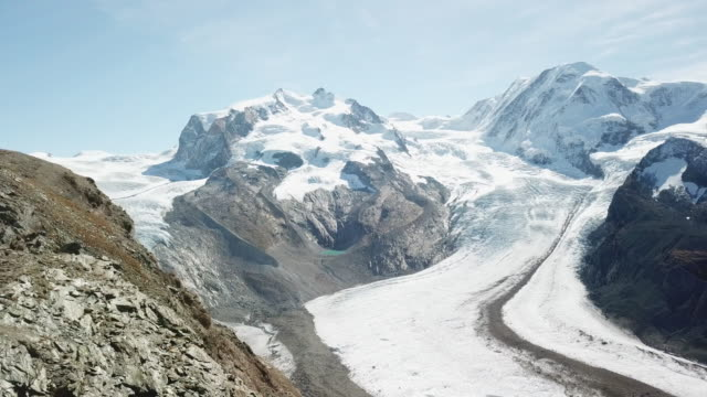 aerial view of glacier - snowcapped mountain stock videos & royalty-free footage