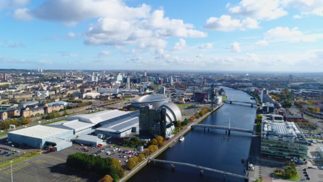 aerial view of glasgow by drone - スコットランド グラスゴー点の映像素材/bロール