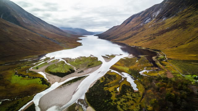 aerial view of glen etive in scotland, uk - scottish highlands stock videos & royalty-free footage