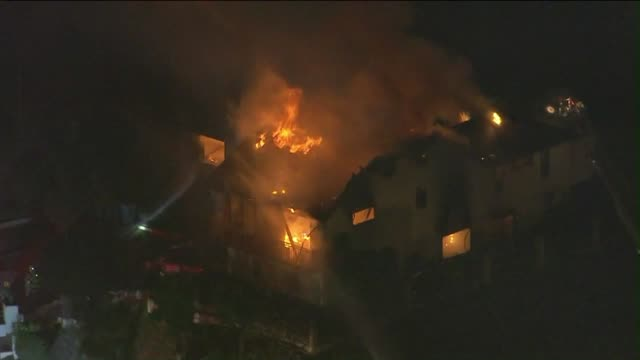 ktla aerial view of glendale house fire - glendale california stock videos & royalty-free footage