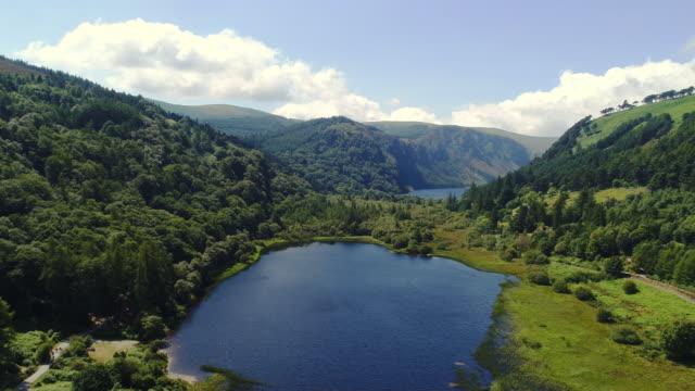 Aerial view of Glendalough lakes in Wicklow Ireland