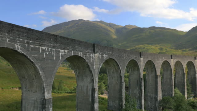 Aerial view of Glenfinnan steam railway Viaduct Scotland