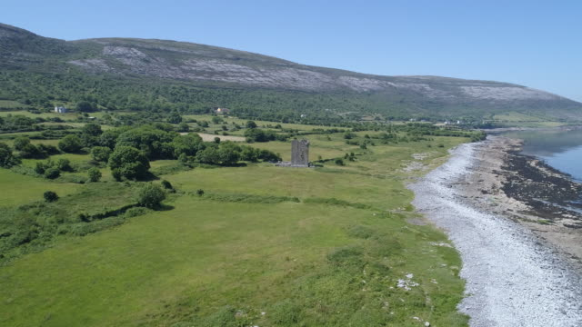 aerial view of gleniagh castle on the barren coastline, ireland - costa caratteristica costiera video stock e b–roll