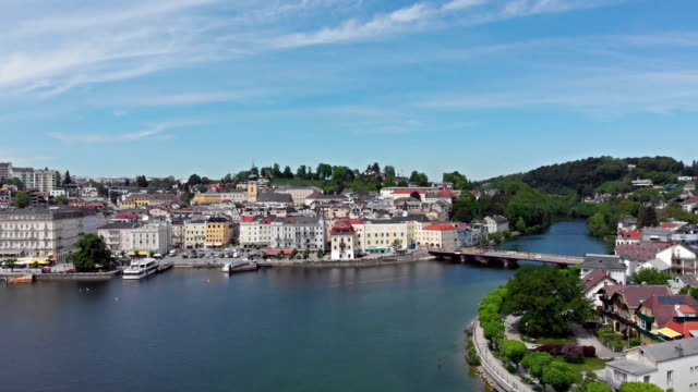 aerial view of gmunden - salzkammergut stock videos and b-roll footage
