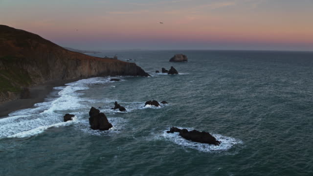 Aerial View of Goat Rock Beach, Jenner, CA at Sunset