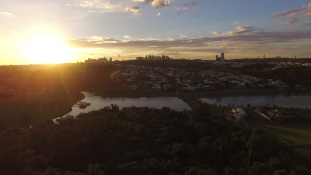 aerial view of goiania at sunset - goias, brazil - 40 o più secondi video stock e b–roll