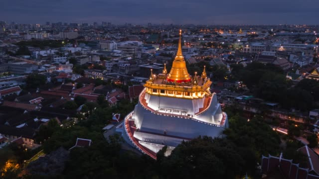 Aerial View of Golden Mount Bangkok Temple,Hyper lapse