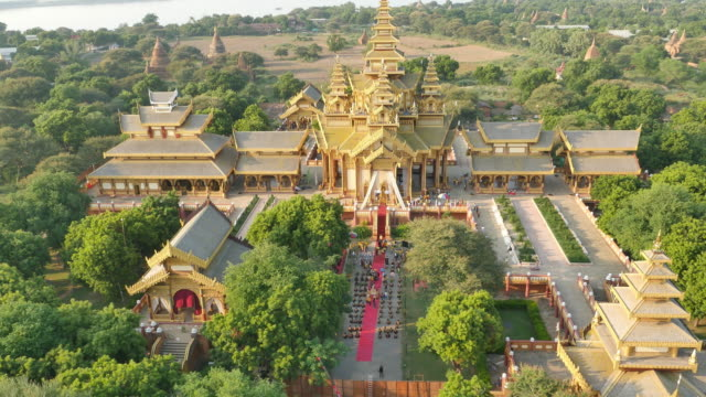 aerial view of golden palace - pagan stock-videos und b-roll-filmmaterial