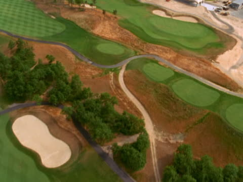Aerial view of golf course and clubhouse