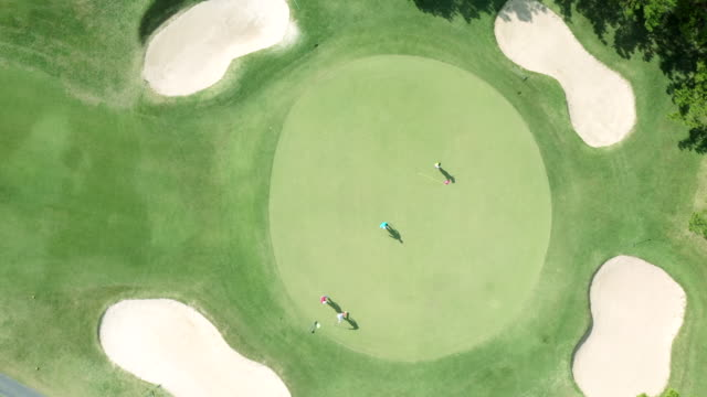 vídeos de stock e filmes b-roll de aerial view of golf course in nature - golfe