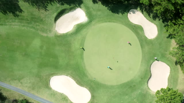 aerial view of golf course in nature - golfer stock videos & royalty-free footage