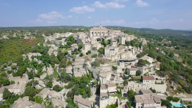 aerial view of gordes, labelled most beautiful villages of france - luberon stock videos & royalty-free footage