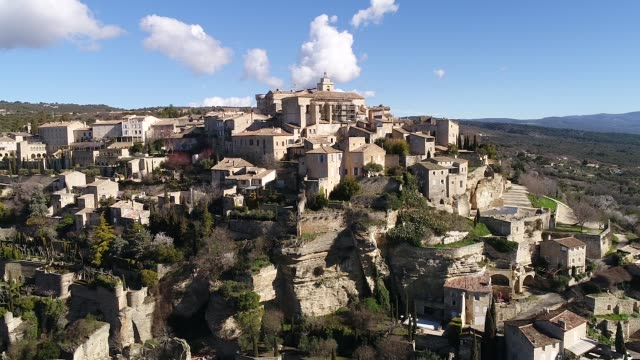 aerial view of gordes - french culture stock videos & royalty-free footage
