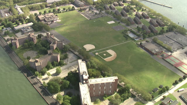 aerial view of governors island, new york city, usa - sports field stock videos and b-roll footage