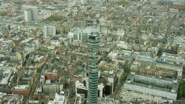 aerial view of gpo tower london england - bt tower london stock videos & royalty-free footage