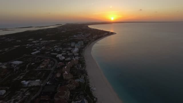 aerial view of grace bay, providenciales, turks and caicos - turks and caicos islands stock videos & royalty-free footage