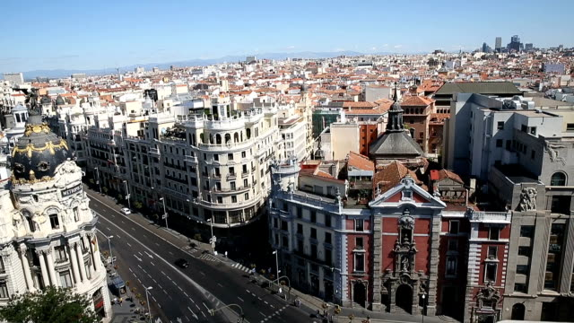 aerial view of gran via - madrid stock videos and b-roll footage