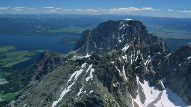 aerial view of grand teton national park - mt moran stock videos & royalty-free footage