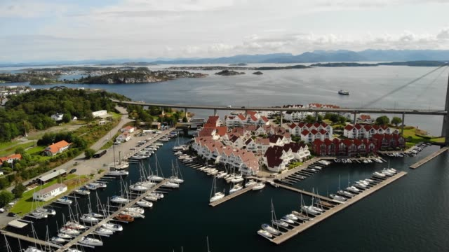 aerial view of grasholmen island in stavanger - stavanger stock videos & royalty-free footage