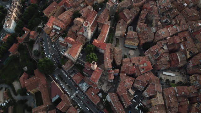 Aerial view of Grasse, an ancient city in Provence, France, Looking down at the old street