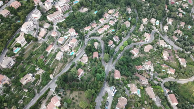 aerial view of grasse, an ancient city in provence, france, looking down at the old street - ca. 1. jahrhundert stock-videos und b-roll-filmmaterial