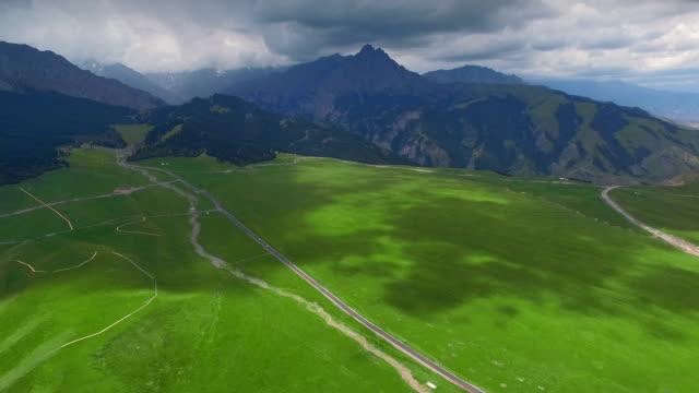 aerial view of grassland in tianshan mountain,xinjiang,china. - national grassland stock videos & royalty-free footage