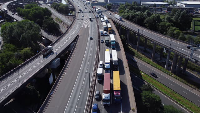 aerial view of gravelly hill interchange (spaghetti junction.) - motorway junction stock videos & royalty-free footage
