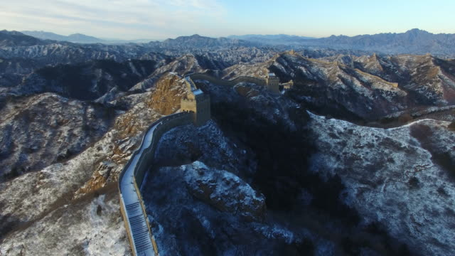 Aerial view of great wall covered with snow, Beijing China