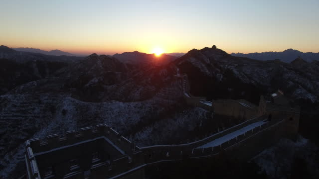 Aerial view of great wall covered with snow when sunset, Beijing China