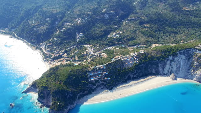 aerial view of greek lefkada sandy beach shot with drone - slovenia stock videos & royalty-free footage