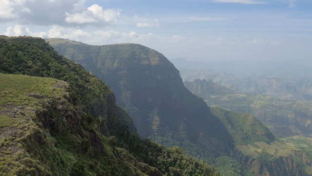 aerial view of green cliff in the simien mountains, ethiopian highland - ethiopia stock videos & royalty-free footage