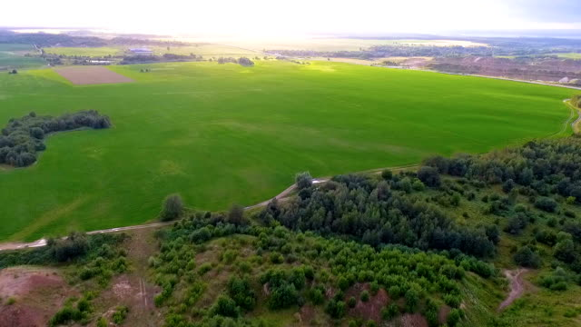 aerial view of green fields - air to air shot stock videos & royalty-free footage