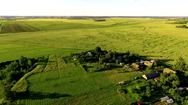 vídeos y material grabado en eventos de stock de vista aérea del verde campos - toma aérea en vuelo