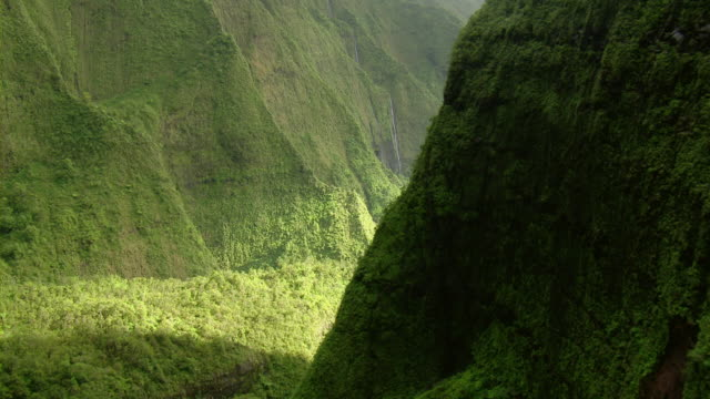 vidéos et rushes de aerial view of green mountain valley with stream and waterfall on steep slope on kauai, hawaii. - kauai