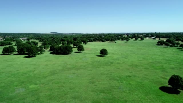 Aerial view of green open countryscape in Argyle Texas