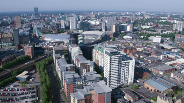 aerial view of green quarter in manchester - drone footage - manchester england stock videos and b-roll footage